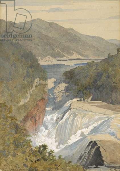 Te Reinga, Falls of the Wairoa, Hawke's Bay, 1867 (w/c on paper)