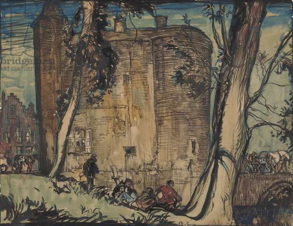 Old gateway at Bruges (pen, ink & w/c on paper)