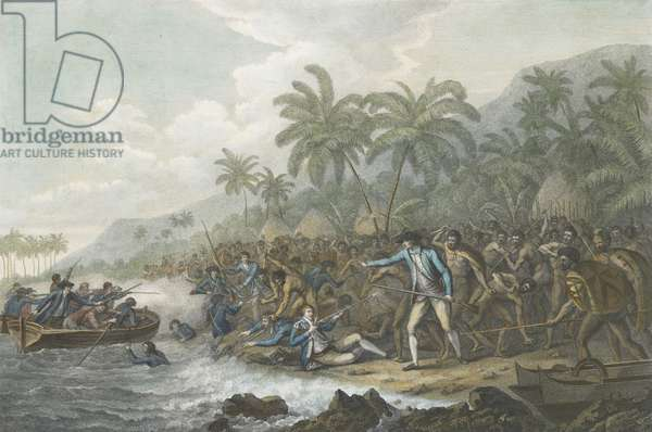 The Death of Captain Cook, 14th February 1779 (hand coloured engraving)