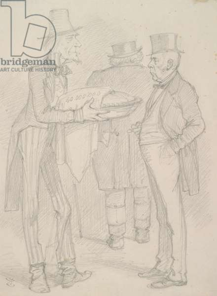 Three men and a pie, drawing for 'Punch' (pencil on paper)