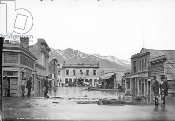 Rees Street, Queenstown, NZ, during flood of 1878, 1878 (b/w photo)