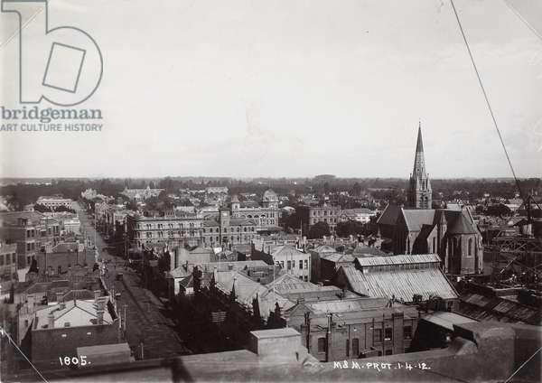 Looking West, Christchurch, 1912 (b/w photo)