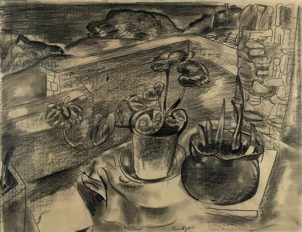 Still Life in Landscape, Bodinnick, Cornwall, 1931-32 (pencil & charcoal on paper)