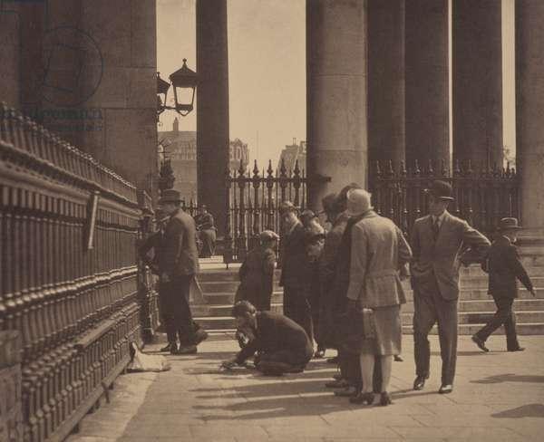 The Pavement Artist, London, 1920s (b/w photo)