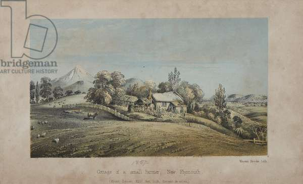 Cottage of a small farmer, New Plymouth, 1857 (colour litho)