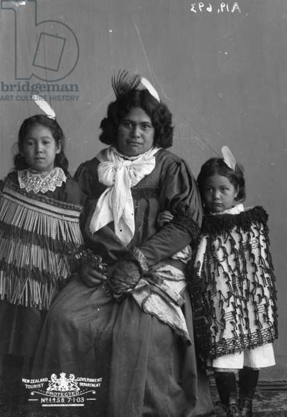 Maori woman with two children, c.1870-1900 (b/w photo)
