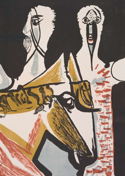 Masked Figure and Horse, 1953 (colour litho)
