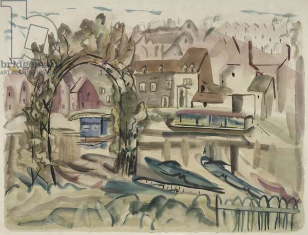 On the River Severn, 1932 (w/c on paper)