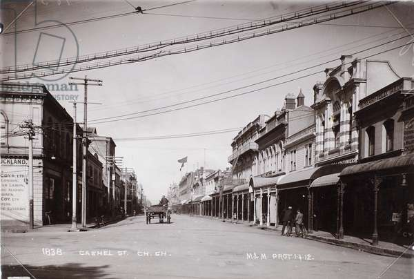 Cashel Street, Christchurch, 1912 (b/w photo)