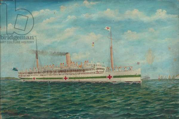 Marama off the Needles, Isle of Wight, English Channel, 1918 (oil on particle board)