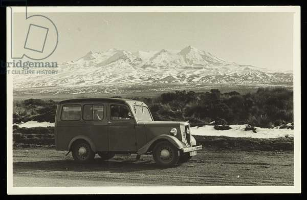 Lee-Johnson family car as seen during winter, New Zealand, 1940s (b/w photo)