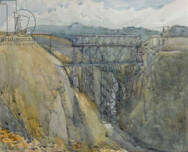 The viaduct, Waikoau, 1927 (w/c on paper)