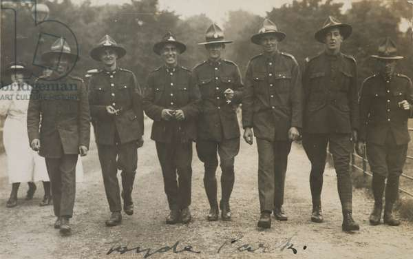 Seven soldiers walking in a row, 1919 (gelatin silver print)