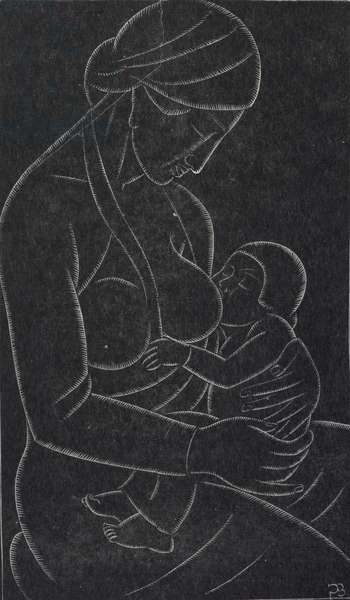 Mother and Child, 1932 (wood engraving)