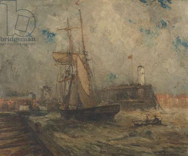 Brigantine going into Littlehampton Harbour (oil on canvas)
