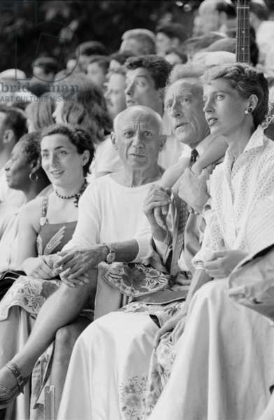 Pablo Picasso and Jean Cocteau at a bullfight in Vallauris, France, 1955 (b/w photo)
