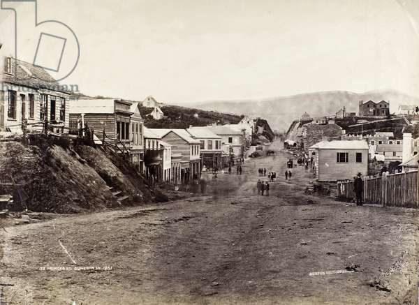 Princes Street, Dunedin, 1861 (b/w photo)