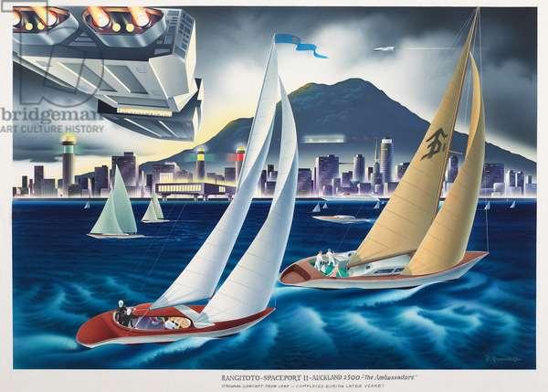 Original artwork:The Ambassadors Rangitoto Spaceport 11 Auckland 2500, c.1960-70s (drawing)