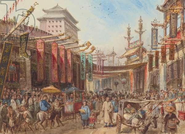 Sketch of a street in Peking, 1869-70 (w/c on paper)