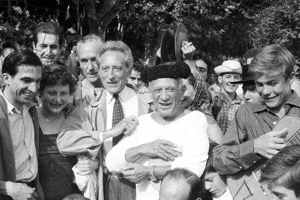 Pablo Picasso and Jean Cocteau at a bullfight in Villauris, France, 1955 (b/w photo)