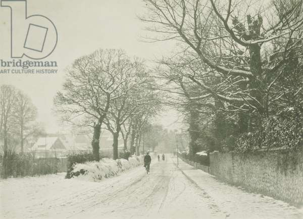 Snow on a country road, 1920s (b/w photo)