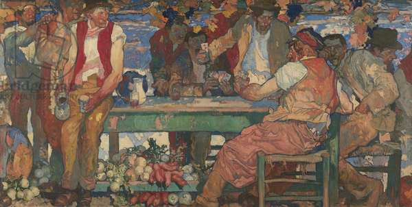 The card players: agricultural workers at rest, c.1916-17 (oil on canvas)