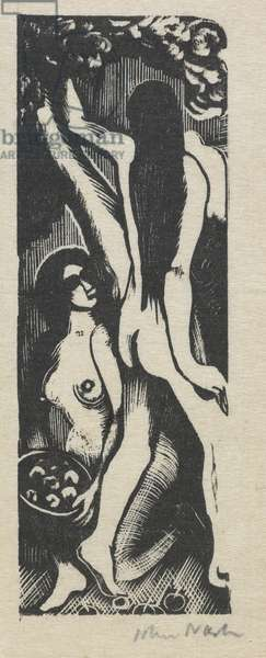 Two figures (wood engraving)