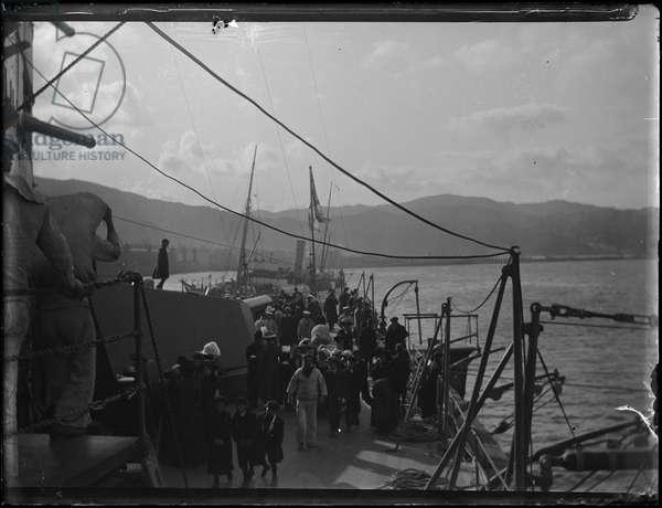 Dominion Day Celebrations: On Board Ship, Wellington Harbour, New Zealand, 26 September 1907 (b/w photo)
