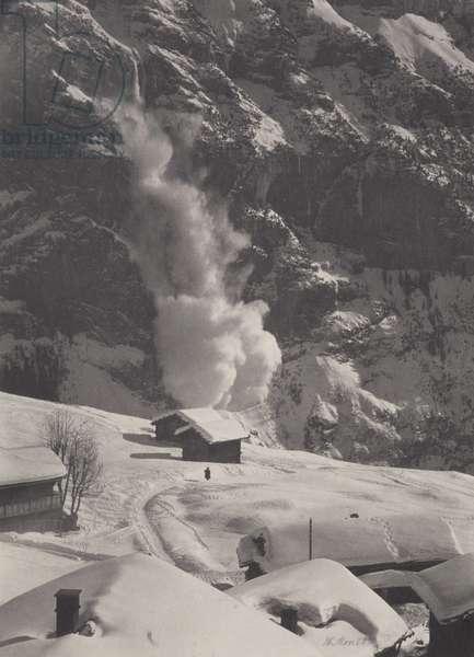 An Avalanche, Swiss Alps, 1920s (b/w photo)