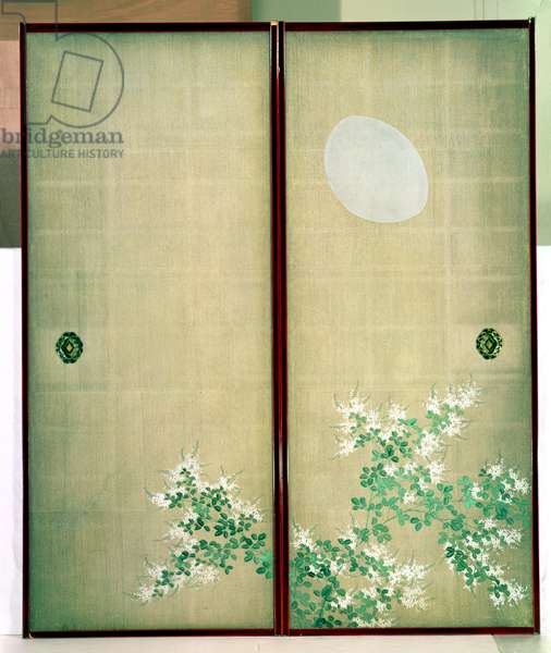 Moon with Hagi, one of a pair of sliding doors, Late Edo Period (w/c on silk) (see 226740 for pair)