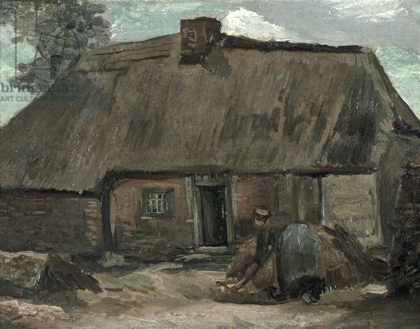 Cottage with Farmers Digging, 1885 (oil on canvas)