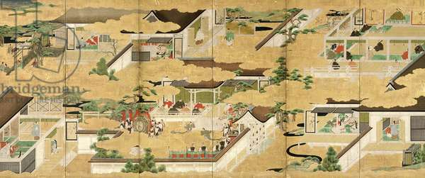 Six-Fold Screen depicting scenes from the 'Tale of Genji', Iwasa School, early Edo Period (pen & ink with gouache and gold leaf on panel) (see 226733 for pair)