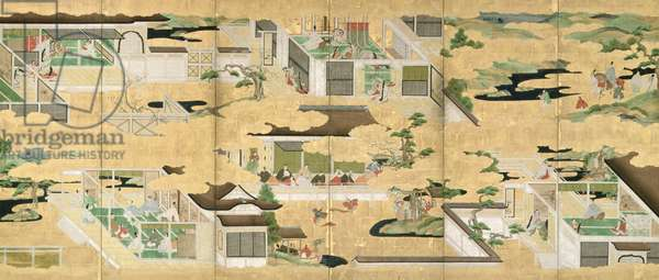 Six-Fold Screen depicting scenes from the 'Tale of Genji', Iwasa School, early Edo Period (pen and ink with gouache and gold leaf on panel) (see 226732 for pair)