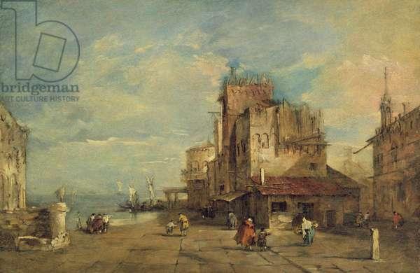 Capriccio of a port, 1759 (oil on canvas)