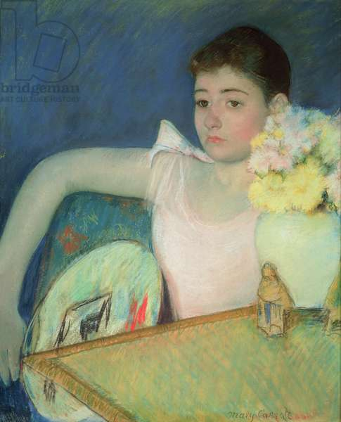 Girl in Pink with a Fan, c.1889 (pastel on paper)