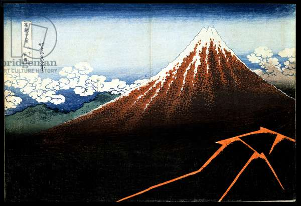 Rainstorm beneath the Summit, from 'Thirty-six views of Mount Fuji' c.1831 (colour woodblock print)