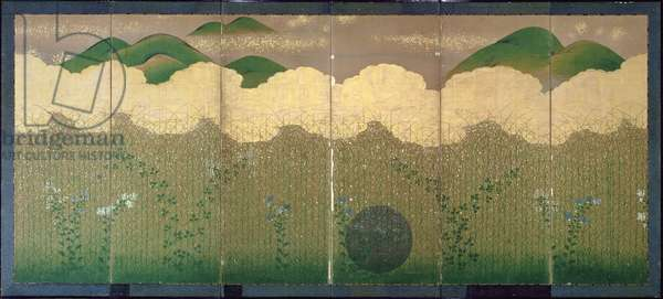 Six-Fold Screen depicting the Musashino Plain, Early Edo Period (pen & ink, colour and gold paper on panel) (see 226725 for pair)