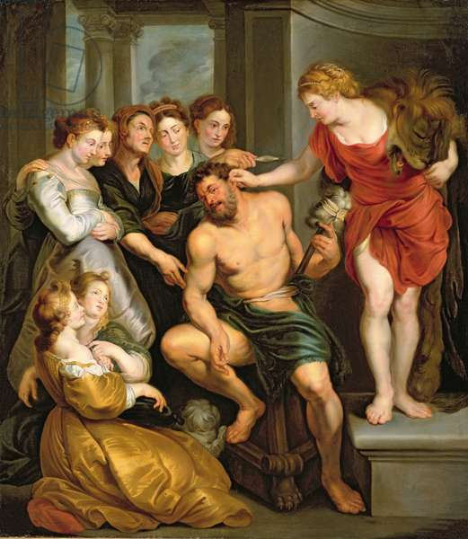 Hercules and Omphale (oil on canvas)