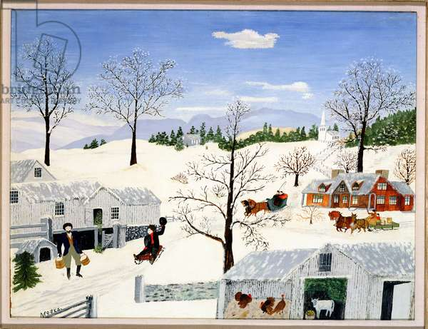Down on the Farm in Winter, 1945 (oil on masonite)