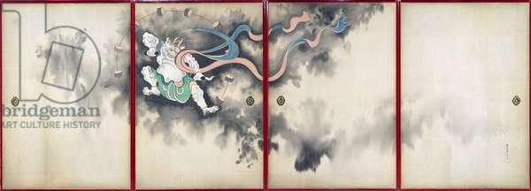 Sliding doors depicting a thunder god, Late Edo Period
