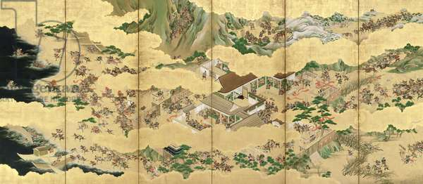 Six-Fold Screen depicting Battle of the Genji and the Heike Clans, early Edo Period (pen & ink with gouache and gold on panel) (see 226737 for pair)