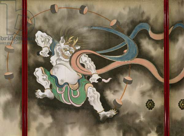Sliding doors depicting a thunder god, Late Edo (detail)