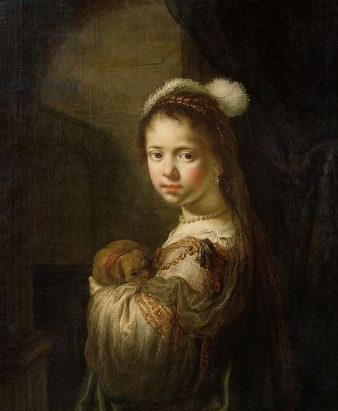 A Little Girl with a Puppy in her Arms, late 1630s (oil on canvas laid down on panel)