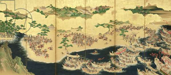 Six-Fold Screen depicting Battle of the Genji and the Heike Clans, early Edo Period (pen & ink with gouache and gold on panel) (see 226736 for pair)
