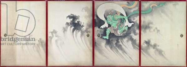 Sliding doors depicting a wind god, Late Edo Period