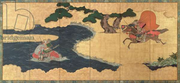Six-Fold Screen depicting Battle of Ichinotani, Tosa School, Edo Period (pen & ink with gouache and gold panel)