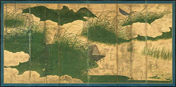 Six-Fold Screen depicting the Musashino Plain in Autumn, Edo Period (pen & ink with colour and gold paper on panel) (see 226730)