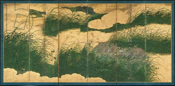 Six-Fold Screen depicting the Musashino Plain in Autumn, Edo Period (pen & ink with colour and gold paper on panel) (see 226729)