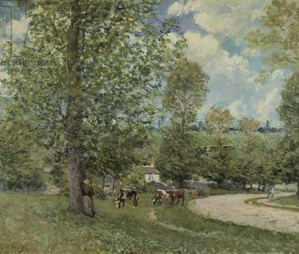 Cows in Pasture, Louveciennes, 1874 (oil on canvas)