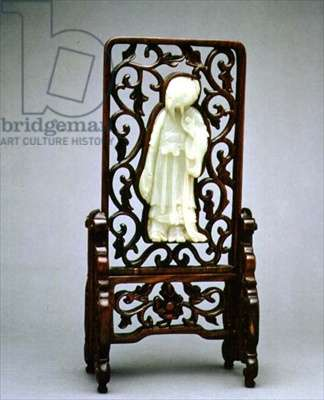 Table screen, with white jade figure of a scholar set in wood, Chinese, Qing Dynasty, 19th century